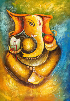 Shree Ganesha 2 - Handpainted Art Painting - 24in X 36in