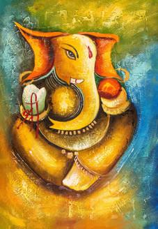 Shree Ganesha 2 - Handpainted Art Painting - 24in X 36in
