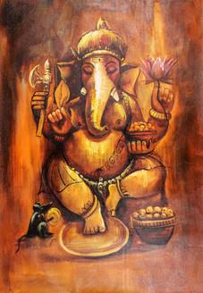 Brown Shade Ganesha - Handpainted Art Painting - 24in X 36in