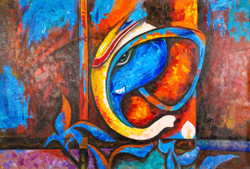 Religious,God,Ganesha,Bappa,Blue ,Red shade Ganesha