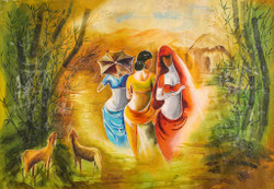 Abstract,Figurative,Three Ladies,Goat,Red Lady,Lady in yellow,Lady in Blue