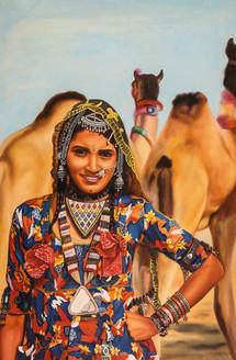 rajasthani paintings,Women,Female,Lady ,Rajasthan,Life in Rajasthan,Rajasthani Woemn,Camel,Desert life