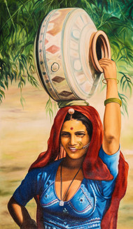 rajasthani paintings,Women,Female,Lady ,Life in Rajasthan,Rajasthani Women,Desert life,Lady in blue Dhagara,Lady with pot