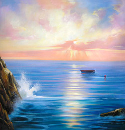 56Seascape67 - 32in x 32in,56Seascape67_3232,Community Artist Group,Museum Quality,Landscape,Blue Landscapoe,Blue Scene - 100% Handpainted