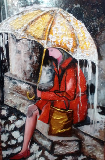 Girl with Umbrella - Handpainted Art Painting - 24in X 36in (Border Framed)