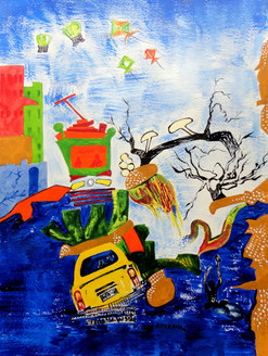 Busy City Life - Handpainted Art Painting - 09in X 12in