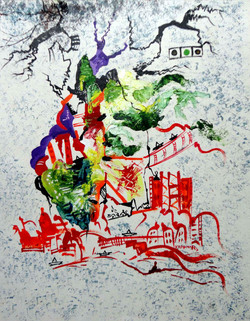 Red Abstract with Green Design - Handpainted Art Painting - 08in X 10in