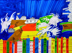 Blue City - Handpainted Art Painting - 12in X 09in