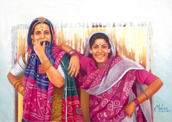rajasthani paintings,Two Rajasthani Ladies,Women,Ladies in Pink,Traditional rajasthani ladies,Smiling