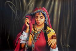 rajasthani paintings,Rajasthani Lady,Women,Lady in red,Traditional rajasthani lady,Lady with Ghunghat