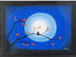 Birds on a tree in moon light exudes romance and love in the air. Moonlight provides the right back drop for this scene.