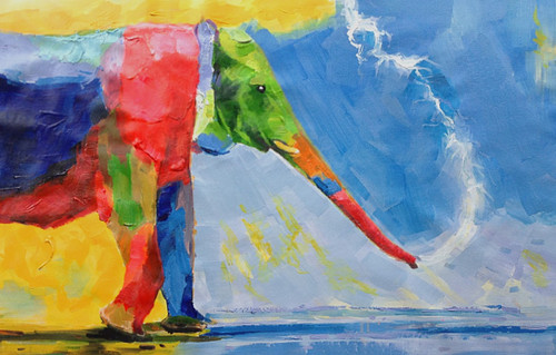 56Anm87 - 36in x 24in,56Anm87_3624,Community Artist Group,Museum Quality,Animal,Elephnat,Rambow - 100% Handpainted