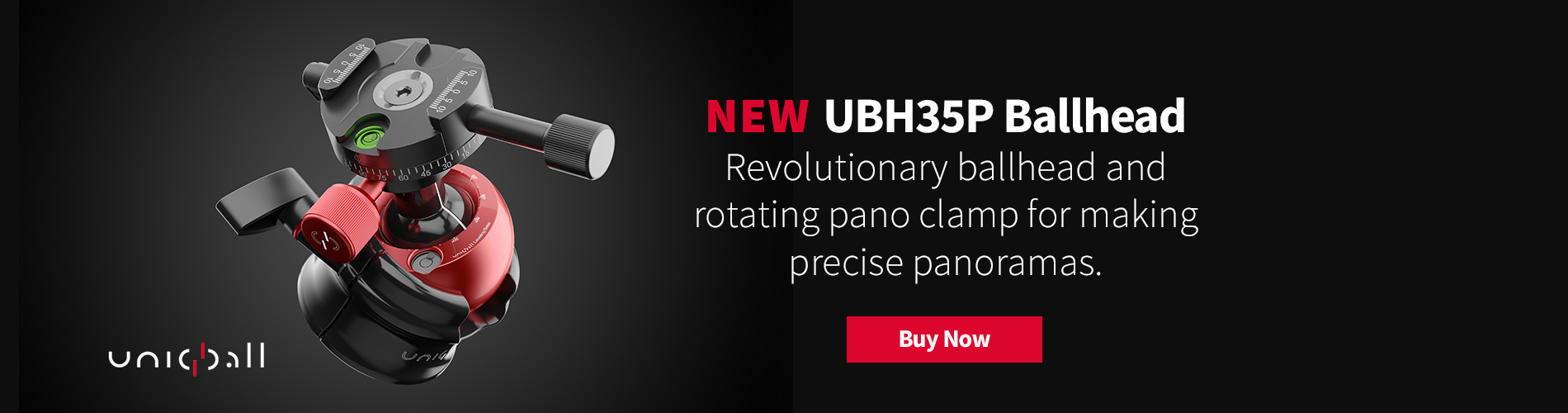 NEW UniqBall UBH35P Ballhead - Revolutionary ballhead and rotating pano clamp for making precise panoramas.