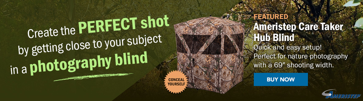 "Create the perfect shot by getting close to your subject in a photography blind. | FEATURED: Ameristep Care Taker Hub Blind | Quick and easy setup! Perfect for nature photography with a 69"" shooting width. BUY NOW →"