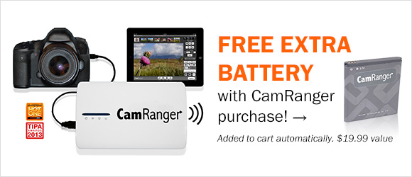 Get a FREE extra battery with the purchase of a CamRanger Wireless DSLR Remote! Automatically added to cart; a $19.99 value.