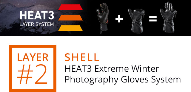 LAYER #2 - SHELL: HEAT3 Extreme Winter Photography Gloves System