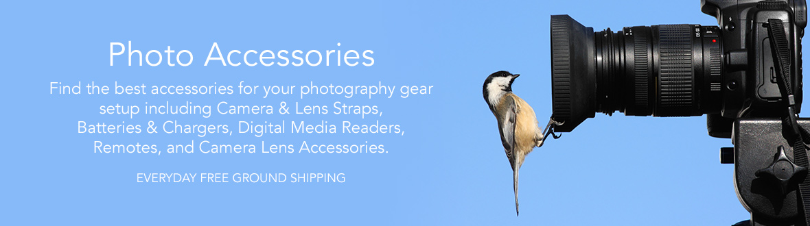 PHOTO ACCESSORIES | Find the best accessories for your photography gear setup including Camera & Lens Straps, Batteries & Chargers, Digital Media Readers, Remotes, and Camera Lens Accessories. Everyday free ground shipping!