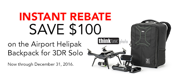 Instant Rebate - SAVE $100 on the Airport Helipak Backpack for 3DR Solo now through December 31st.