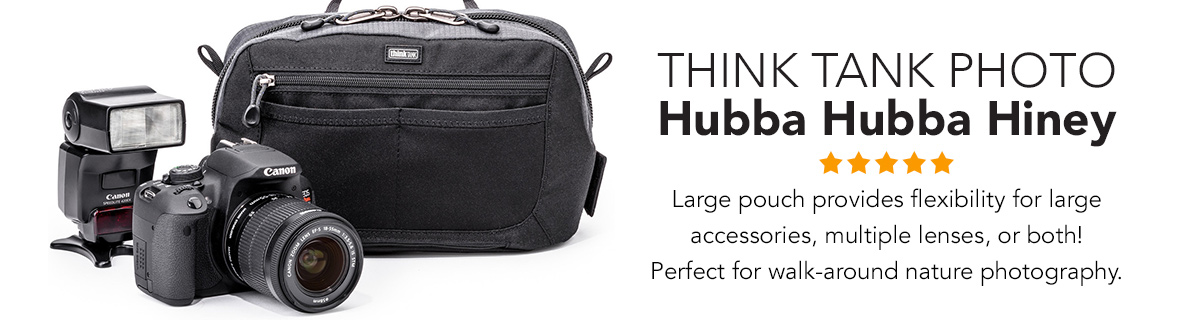 Think Tank Photo | Hubba Hubba Hiney ★ ★ ★ ★ ★ Large pouch provides flexibility for large accessories, multiple lenses, or both! Perfect for walk-around nature photography. LEARN MORE →