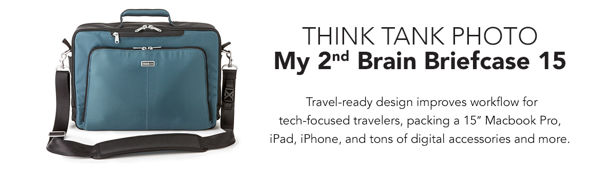 "Think Tank Photo My 2nd Brain Briefcase 15 | Travel-ready design improves workflow for tech-focused travelers, packing a 15"" Macbook Pro, iPad, iPhone, and tons of digital accessories and more."