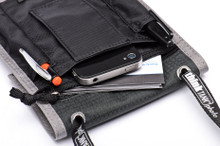Large pocket holds most smartphones; hook and loop closure