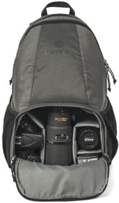 Main compartment with DSLR (gear not included) pictured in the color Slate.