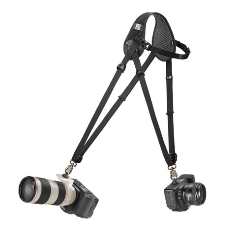 Hybrid Breathe Double DSLR Camera Strap can attach two cameras of different weights