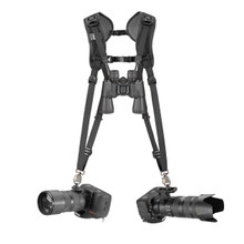 Double Breathe Dual DSLR Camera Harness with two cameras attached