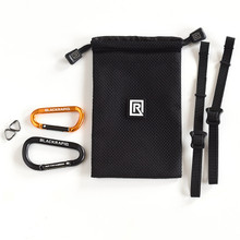 "The BlackRapid Breathe Tether Kit includes two carabiners, Two 12"" nylon webbings with triangle d-rings, and a poly and mesh drawstring sack"