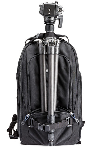 Tripod attached to front of StreetWalker backpack