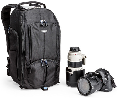 StreetWalker Pro Slim DSLR Camera Backpack pictured with camera lenses (not included)