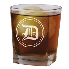 Personalized Square Rocks Glass Tumbler with Initial