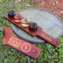 Personalized Wine Flight Set - Red/Brown Finish