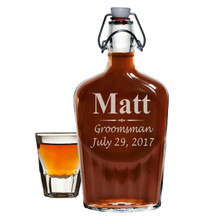 Custom Engraved Swing Top Glass Flask for Groomsman