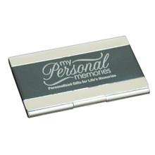 Engraved Metal Black Business Card Case Holder