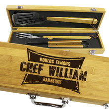 Personalized Gifts For Him - 3 Piece Bamboo BBQ Grilling Set