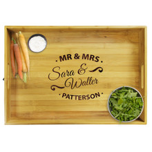 Premium Custom Engraved Bamboo Wood Serving Tray with Handles