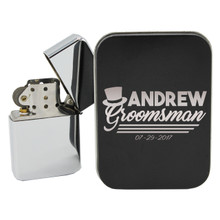 Chrome Flip Top Lighter With Custom Engraved Case