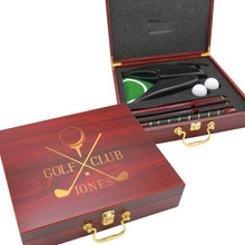 Custom Engraved Rosewood Box Golf Gift Set With Automatic Ball Return