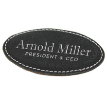 Custom Engraved Leather Magnetic  Name Tag