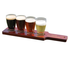 Personalized Beer Flight Set - Red/Brown