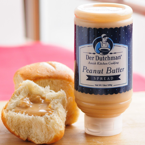 Meet your new comfort food. Thick, sweet, and creamy, Amish peanut butter spread is perfect on homemade bread. A Holmes County favorite, this simple snack alternative to peanut butter and jelly is very popular with locals and visitors alike.  Available in 19oz squeeze bottles.