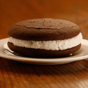 "Are whoopie pies a pie, cake or cookie? We'll let you decide - our chocolate cookie sandwiches are made with rich dark chocolate cake ""cookies"" and filled with sweet, light and fluffy filling. Also called ""gobs"" in some areas, chocolate whoopie pies are a delightfully addicting treat.  Cookies are approximately three inches in diameter. Homemade in Ohio's Amish Country."