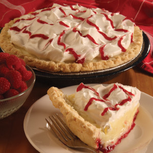 You won't find raspberry cream pie just anywhere. Refreshing and unique, our homemade raspberry filling is layered with our luscious vanilla pie filling in a pie shell. We carefully measure and package each ingredient to make your pie just like the ones we serve in our Der Dutchman Restaurants. No baking is required! Assemble in minutes, according to our included instructions. Prepared and shipped from Ohio's Amish Country.   Contents of the kit: Choice of Red or Black Raspberry filling One 9 inch pie crust Cooked vanilla custard filling Whipped cream