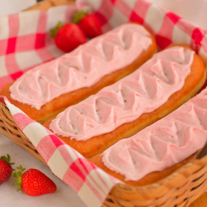 Strawberry Long Johns (or Creamsticks) are iced with frosting made with real strawberries.