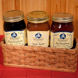 Packaged neatly in an authentic Amish-made cracker basket, we're happy to offer a delicious gift for those who are diabetic or just watching their sugar or carb intake. Der Dutchman No-Sugar Added Spreads are sweetened with natural fruit juices, not with artificial sweeteners.