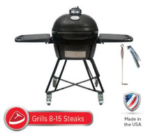 Primo All-In-One Package PRM7400 JR200 Smoker BBQ Grill Plus Heavy Duty Stand, Side Shelves, Ash Tool, & Grate Lifter
