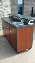 "Challenger 72"" Patio Bar With Three Doors, Two Drawers, Shelves, Sink, Faucet, On Demand Water System With Gray Water Tank, Includes Countertop & Finished Back-Completely Finished-Choose Your Own Colors!"