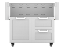 Hestan GCR36 Stainless Steel Double Drawer And Door Tower Cart For 36-Inch Gas Grill