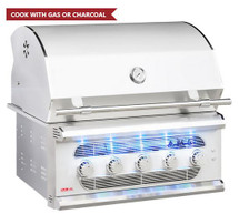 American Muscle Grill AMG36 36-Inch 5-Burner Built-In Dual Fuel Wood / Charcoal / Natural Or Propane Gas Gril